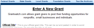 Enter a new grant form